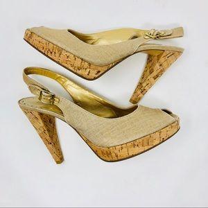 BCBGirls | Champagne Peep Toe Slingback Cork Heels